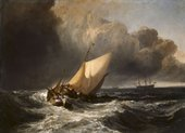 A detailed painting of wooden sailing boats being tossed on large, frothing waves. The sky transitions from almost black on the left to brighter on the right and larger boats are visible on the horizon.