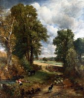 A painting of a country lane on a sunny day, with a dog in the foreground driving sheep towards a cornfield. Tall trees rise on either side of the lane, and to the left a shepherd boy lies down next to a stream to drink.