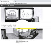 Webpage screenshot with title 'Intermedia Art' over black-and-white image of two television screens, a CCTV camera and a reflective sphere