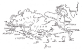 A hand-drawn map of the world, centred on the Pacific Ocean, with countries labelled in French