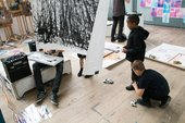 Students playing with drawing and sound machines at the Greenwich Community Schools Partnership 'To-ing & Fro-ing' exhibition, Blackheath Conservatoire, July 2019