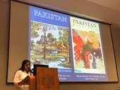 Samina Iqbal presenting 'Pakistan Quarterly and Modern Art of Pakistan' at Karachi Seminar: Critical Perspectives on Art and Education, 2018