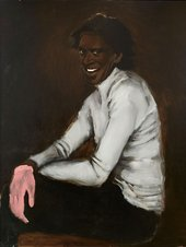 Painted portrait of a person wearing one pink glove