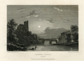 A black and white print showing a river with a bridge, a castle and trees, and a house on the right, sun and clouds visible in the background and a figure standing in the river. Lettering indicates that it is a view of Barnard Castle in Durham