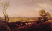 Painting of a flat green landscape with fields. A farmer leads a line of cattle in the foreground between a trees on the left and right of the work.