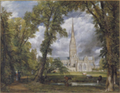 A detailed painting of Salisbury Cathedral with the spire in the middle of an arch made by tall leaning trees. In the foreground are figures, a stream and animals.