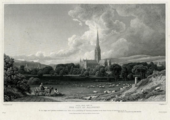 A black and white print showing a meadow surrounded by trees and occupied by sheep, with a figure seated on a horse and cart in the foreground and Salisbury Cathedral in the background with a cloudy sky above.