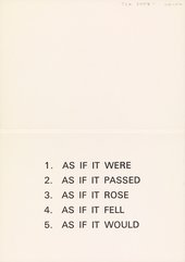 Invitation card (interior) to the opening of the Jack Wendler Gallery, London, 1971 with an inaugural exhibition by Lawrence Weiner