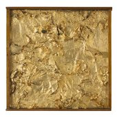 Robert Rauschenberg, Untitled (Gold Painting) 1955. Gold leaf on fabric, newspaper, and glue on canvas, in wood-and-glass frame, 34.9 x 33.7 x 4.4 cm © Robert Rauschenberg Foundation