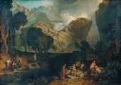 Painting with figures in sunlight on either side of a stream in the foreground. Most of the work consists of the landscape behind, with dark green trees and strange cliffs apparently covered in grass.