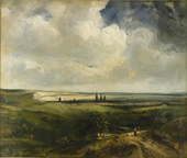 Painting of a flat, green landscape with the spires of a city visible in the distance. There are figures on a mountain path in the foreground on the right.