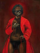 Painted portrait of a person wearing a red robe