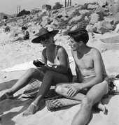 Eileen Agar 'Photograph of Lee Miller and Roland Penrose on the beach', September 1937 © Tate