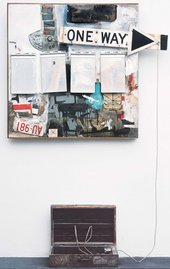 Robert Rauschenberg, Black Market, 1961. Combine: oil, watercolor, pencil, paper, fabric, newspaper, printed paper, printed reproductions, wood, metal, tin, and four metal clipboards on canvas with rope, rubber stamp, ink pad, and various objects in wood