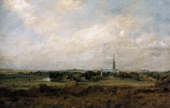 A painting of a landscape featuring hills, trees, meadows, a section of a river, and Salisbury Cathedral and other buildings in the distance.