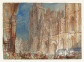 Watercolour painting of Rouen Cathedral in light colours with crowds of people in the square.