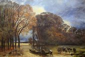 Painting with a line of autumnal trees enclosing a flooded field. In the centre foreground three men gather floating objects into a boat, while on the right a horse and cart with a driver stands in the water.