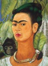 Self-portrait of Frida Kahlo with a monkey on her shoulder