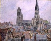Painting of grey and brown rooves in a city, leading towards a cathedral with two towers under a grey sky.
