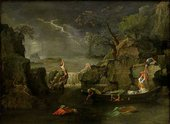 Painting of a flood scene at night, illuminated by moonlight and flashes of lightning in the sky. Figures climb on rocky outcrops or struggle to reach a boat while the waters rise all around.