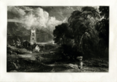 A black and white print of a wooded landscape scene with dark trees on the right, grass and figures in the foreground, and a church and white clouds in the distance.