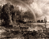 A black and white print showing a water meadow, with large trees on the left, a figure on a horse-drawn cart in the centre, and a cathedral in the distance that is framed by a large rainbow and clouds.