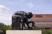 Eduardo Paolozzi's sculpture of Newton outside the British Library