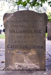 Grave stone close to the spot where William and Catherine Blake are buried, Bunhill Fields Burial Ground