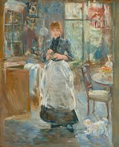 An impressionist painting of a woman standing in the kitchen by Berthe Morisot
