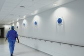 A member of the medical team at the Royal London Hospital oberves Roger Hiorns's Untitled 2012