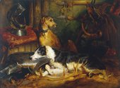 Painting of two dogs sitting in a room with armour, pheasants and sporting trophies