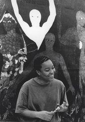 Belkis Ayón at the Havana Galerie, Zurich, August 1999