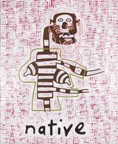 an abstract figure with a disjointed head is painted behind a pink patterned background with the word native