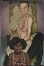 Painting of a nude man with a prominent rib cage sitting on a throne, with a black woman sitting in front of him, both stare ahead at the viewer