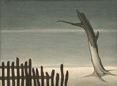 Albert Reuss, Fence and Tree, 1948, oil paint on canvas, 30.5 x 40.6 cm