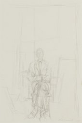 Image of Alberto Giacometti's pencil drawing of David Sainsbury seated on a chair