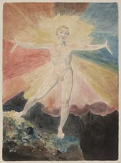 naked figure standing on a rock with arms wide