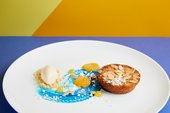 Gevulde Koek'  (almond cake, apricots, almonds, absinth and white chocolate ice cream)