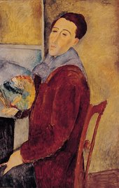 Painting of a man sitting on a chair holding a painting palette