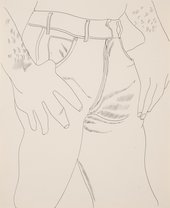 Andy Warhol, Male Torso, 1956, ink on paper, 42.5 x 34.5 cm