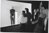 Andy Warhol posing as Invisible Sculpture, New York City, 1985, photographed by Paige Powell - (c) Paige Powell