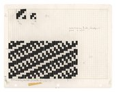 Anni Albers, diagram relating to modified and composite weaves, c.1965, plate 18 from Anni Albers's On Weaving (1965), black masking tape and pencil on gridded paper, 21.7 x 27.9 cm