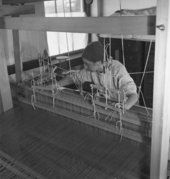 Anni Albers in her weaving studio at Black Mountain College, 1937, photographed by Helen M Post - Courtesy the Western Regional Archives, State Archives of North Carolina