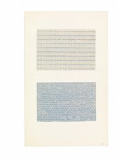 Anni Albers, studies made on the typewriter, undated, typewriter printing in blue ink on paper mounted on board, 27 x 16.8 cm - The Josef and Anni Albers Foundation