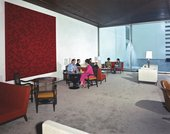Anni Albers's wallhanging Camino Real 1967 in the Lobby Bar of the Camino Real hotel, Mexico City, 1968, photographed by Armando Salas Portugal - Courtesy the Josef and Anni Albers Foundation