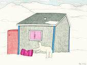 A painting by Canadian artist Annie Pootoogook of a polar bear outside of a home.