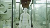 a film still of someone bandaged like a mummy