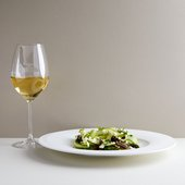 Asparagus dish with a glass of white wine, Rex Whistler Restaurant