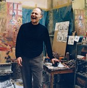 Frank Auerbach in his London studio, 2001, photographed by Kevin Davies © Kevin Davies, courtesy National Portrait Gallery