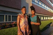 Picture of two women outside of a building